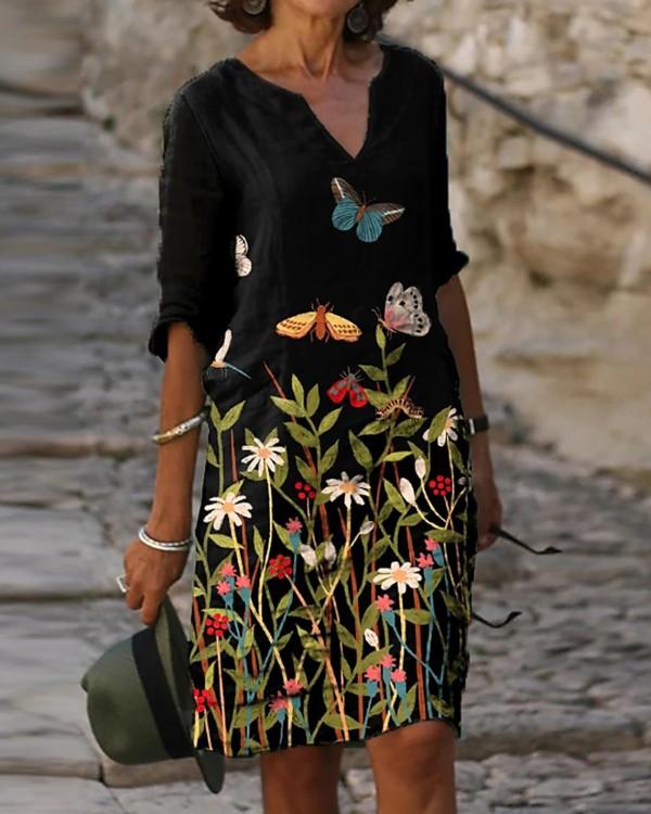 Floral Butterfly Print Casual Women Dress Knee Length Half Sleeve Shift Women Dress