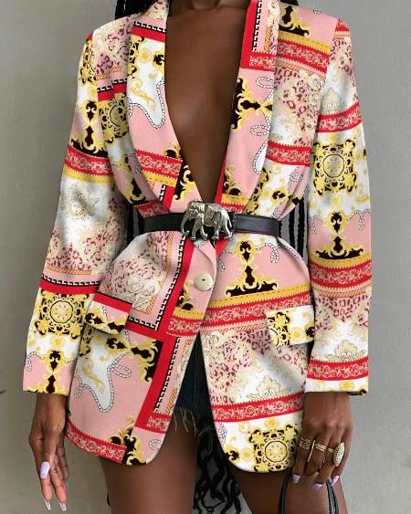 Scarf Print Shawl Collar Flap Detail Single Button Blazer