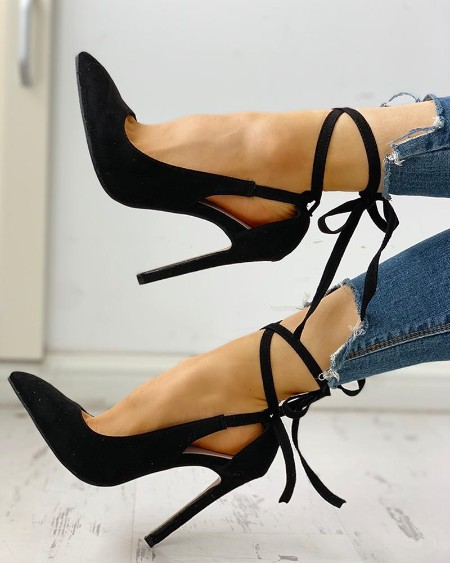 Pointed Toe Crisscross Bandage Thin Heels