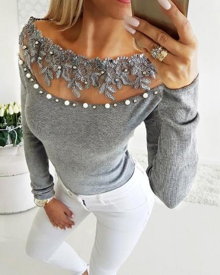 Off Shoulder Lace Bead Embellished Blouse