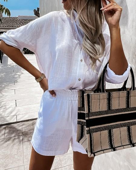 Plain Button Front Long Sleeve Top & Shorts Sets