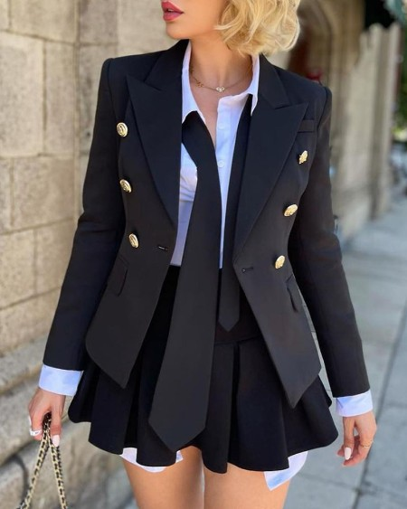 Long Sleeve Double Breasted Blazer Coat
