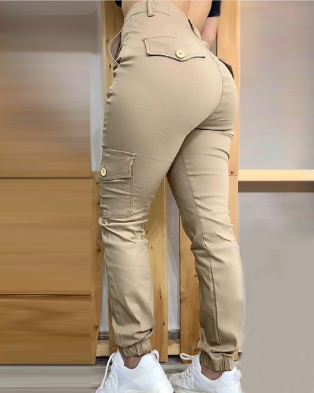 Buttoned Pockets Design Solid Casual Pants