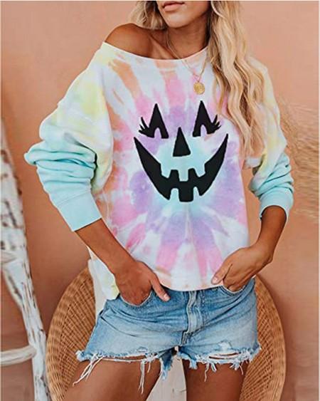 Halloween Graphic Print Long Sleeve Sweatshirt