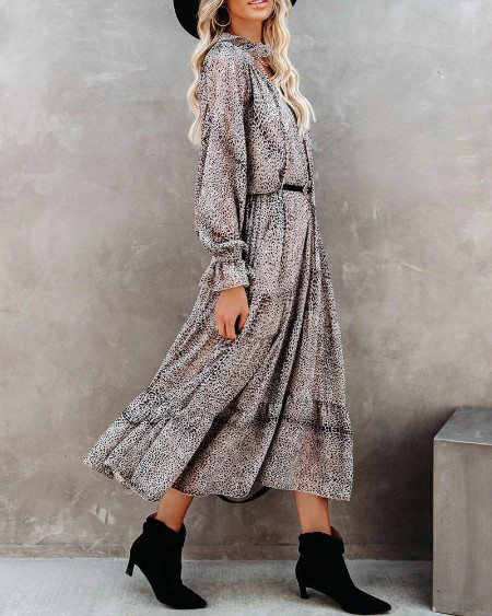Ditsy Floral Print Long Sleeve Ruffles Hem Dress