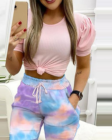Plain Puff Sleeve Top & Tie Dye Print Pants Set