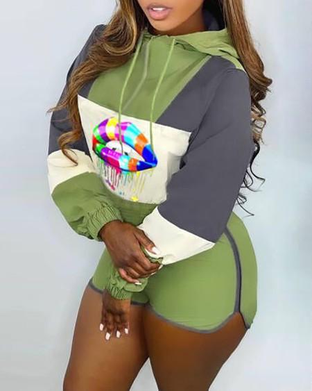 Lip Print Colorblock Hooded Top & Shorts Set
