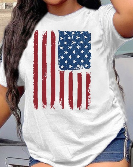 American Flag Print Round Neck Short Sleeve Tee