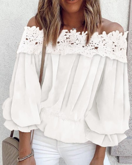 Lace Patchwork Off Shoulder Blouse