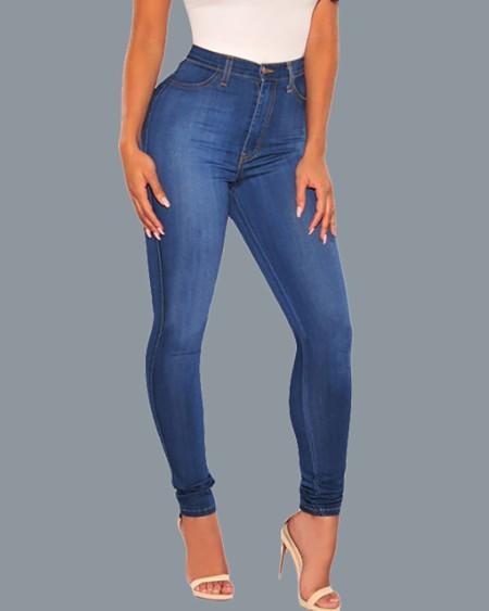 High Waist Single Button Pocket Design Casual Denim Pants