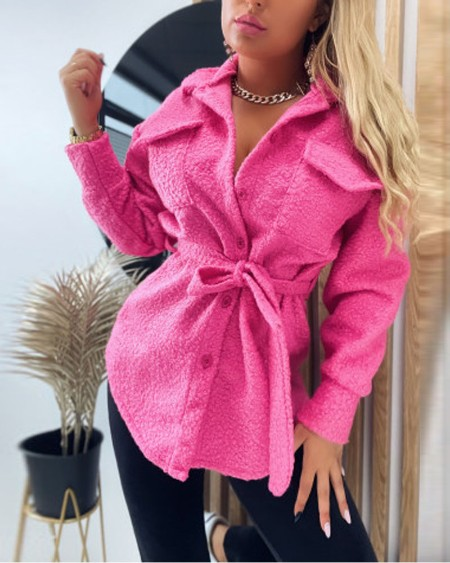 Long Sleeve Flap Detail Button Down Belted Teddy Shacket