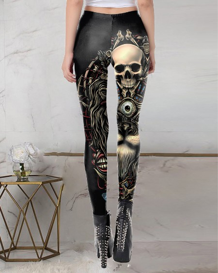 Halloween Skull Graphic Print High Waist Leggings