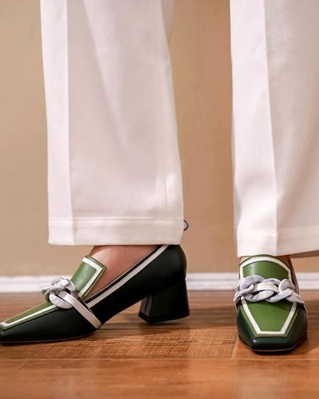 Colorblock Chain Decor Square Toe Chunky Heels