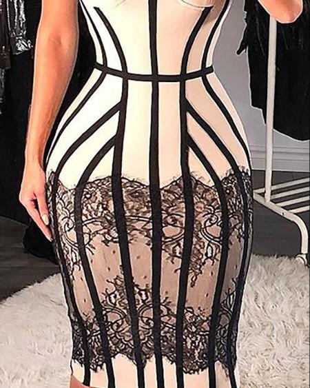 Colorblock Crochet Lace Sleeveless Skinny Dress