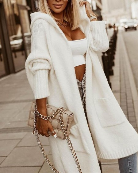 Letter Heart Print Longline Hooded Cardigan Casual Rib-Knit Pocket Design Long Coat