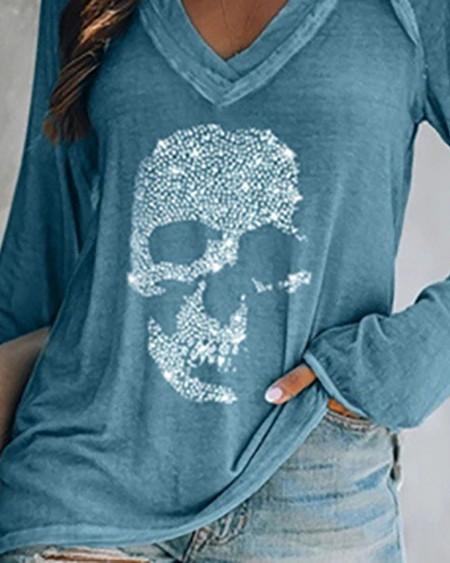 Skull Pattern Rhinestone Long Sleeve Casual T-shirt