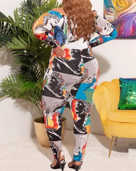 Plus Size Off Shoulder Figure Letter Print Skinny Jumpsuit