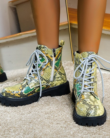 Womens Snakeskin Print Round Toe Lace-up Martin Boots