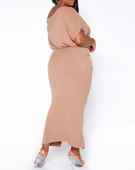 Plus Size One Shoulder Top & Drawstring Slit Skirt Set