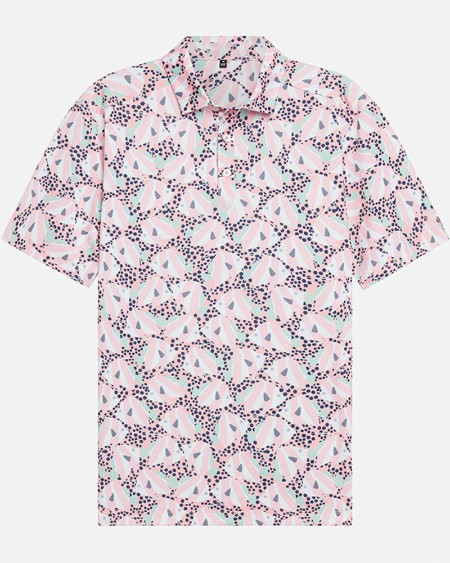 Mens All Over Printed Short Sleeve Button Up Polo Shirt