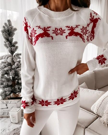 Knit Christmas Snowflake / Deer Print Long Sleeve Sweater