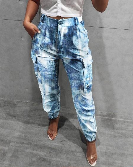 Pocket Design High Waisted Casual Jean-like Pants