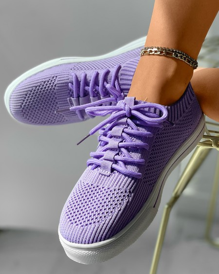 Knit Lace-up Breathable Casual Sneaker