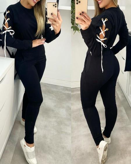 Eyelet Lace-up Sweatshirt & High Waist Pocket Design Pants Set