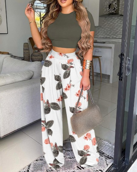 O-neck Crop Plain Top & Floral Print Wide Leg Pants Set
