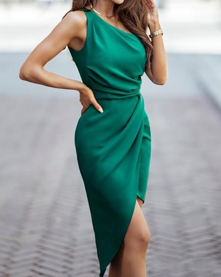 Solid One Shoulder Split Dress
