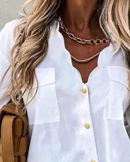 Pocket Design Buttoned Long Sleeve Top