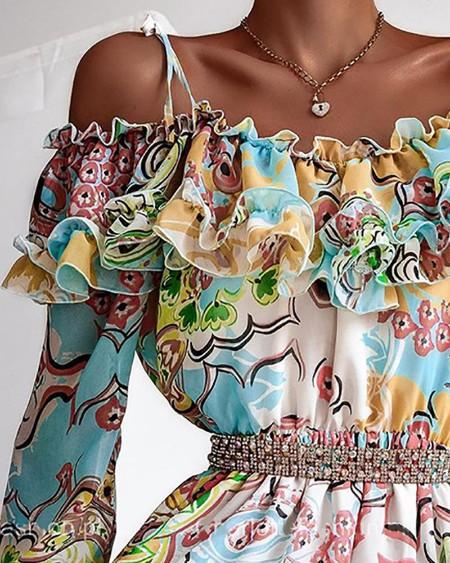 Cold Shoulder Ruffles Frill Hem Graphic Print Dress
