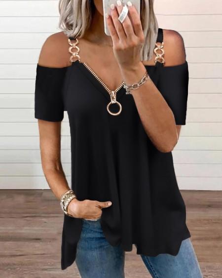 Chain Cold shoulder Plain Black Short Sleeve Blouse