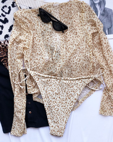 Leopard Print Halter Lace Up Bikini Sets