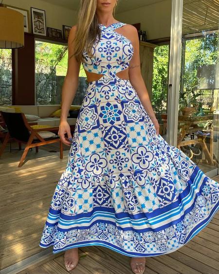 Halter Moroccan Print Cutout Maxi Dress
