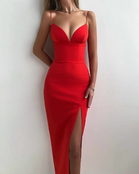 Solid Split Thigh Bodycon Cami Dress