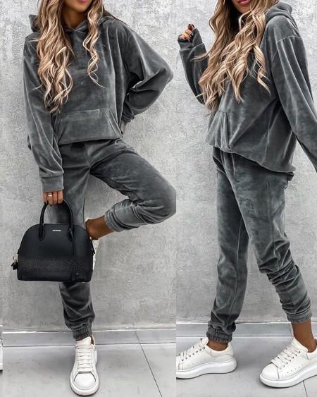 Plain Pocket Design Hooded Women Top & Pants Set