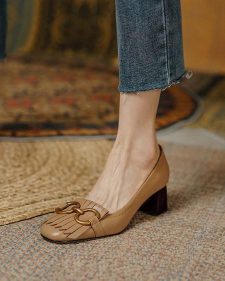 Square-toe Solid Color Splicing Tassel High Heels