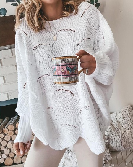 Hollow Out Long Sleeve Casual Sweater