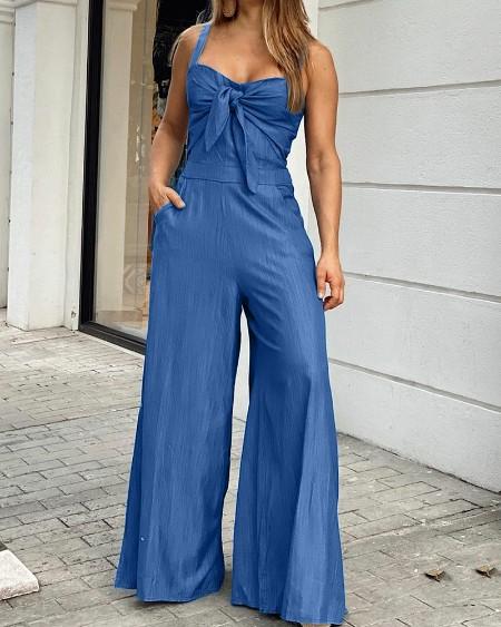 Solid Color Slant Pocket Wide Leg Cami Jumpsuit