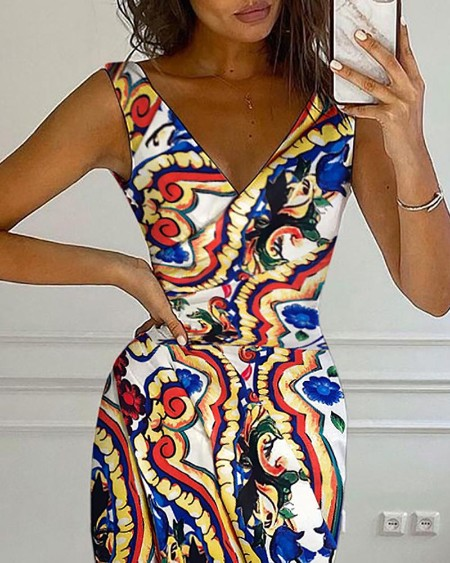 Graphic Print High Slit Ruched Wrap Dress