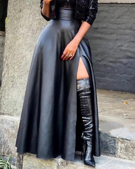 PU Leather High Slit Pocket Design Skirt