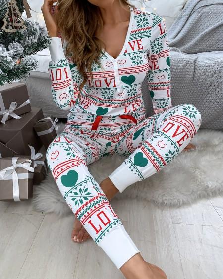 Christmas Mixed Print Bowknot Decor Pajamas Set