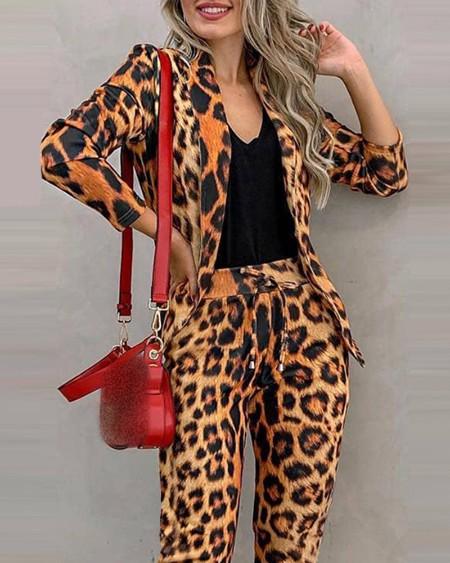 Cheetah Print Blazer Coat & Drawstring Pants Set