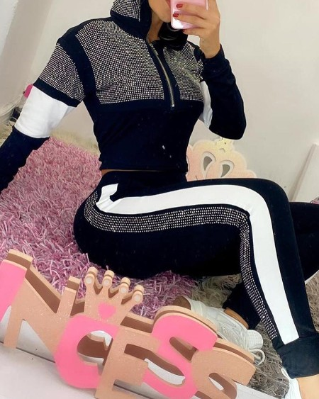 Studded Colorblock Hooded Top & Striped Tape Pants Set