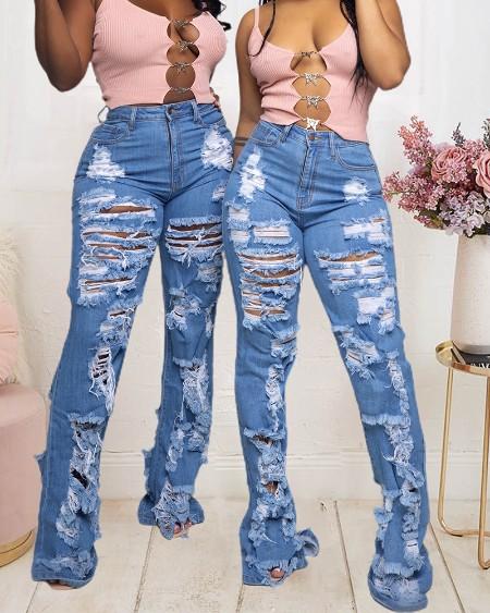 Stretch Slant Pocket Ripped Flared Leg Skinny Jeans