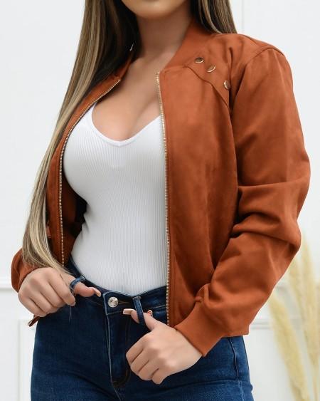 Long Sleeve Button Decor Zip Up Bomber Jacket