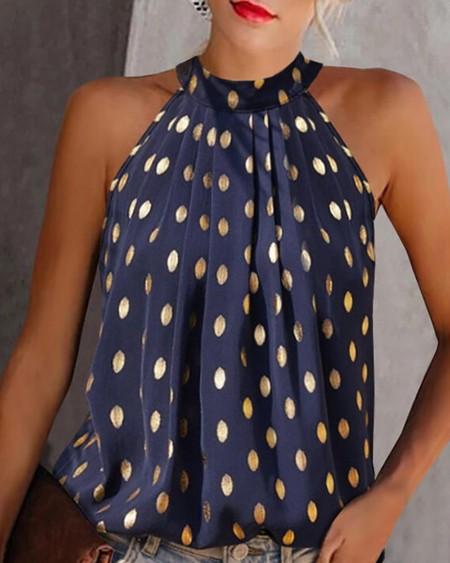 Halter Polka Dot Print Sleeveless Ruched Top
