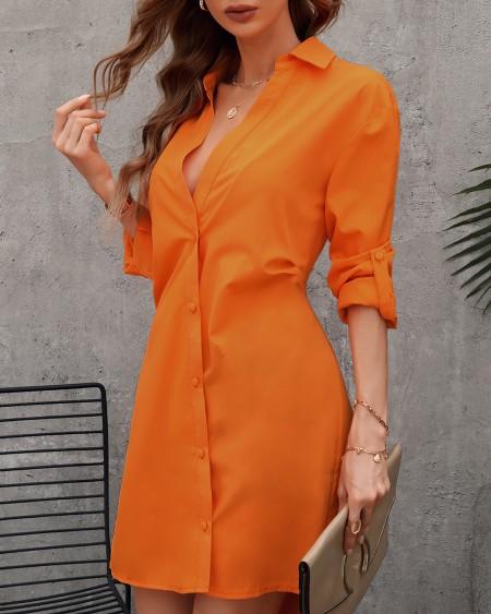 Long Sleeve Plain Button Design Shirt Dress