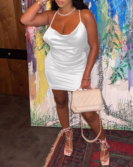 Satin Halter Drawstring Ruched Bodycon Dress